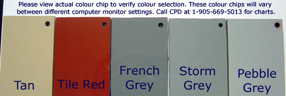CPD Construction Products colour chips for available colours.